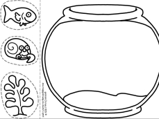 Fish Bowl Coloring Page Printable Make Color Cut And Paste Fishbowl | Free Coloring Pages For Kids